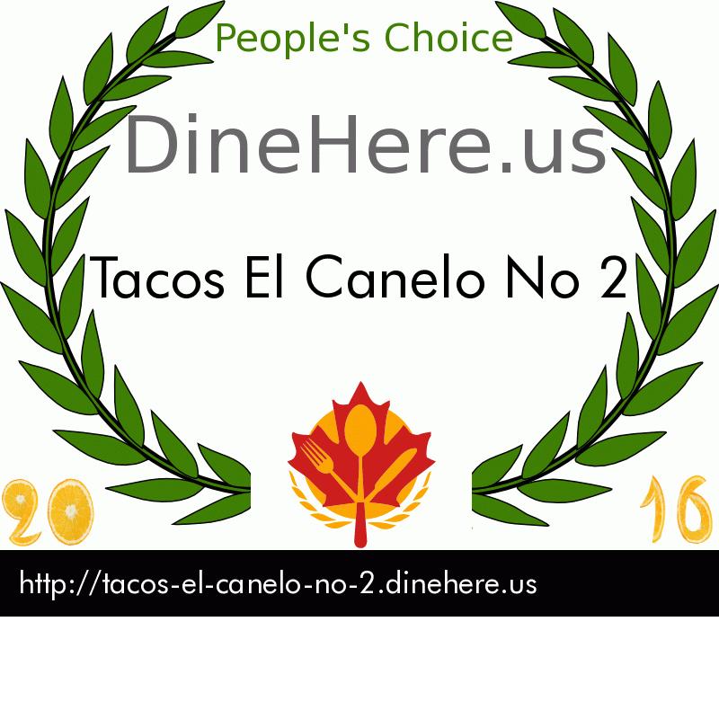 Tacos El Canelo No 2 DineHere.us 2016 Award Winner
